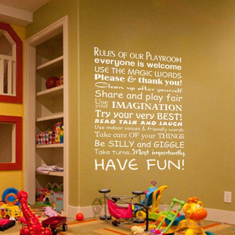 Playroom Rules Horizontal Toy Room Words Baby Nursery Kids Room ...