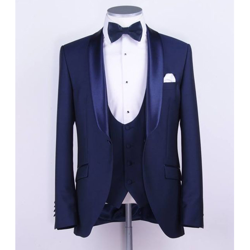2018 Blue Business Party Men Suits Shawl Lapel Three Piece Wedding Groom Tuxedos For Groomsmen (Jacket + Pants + Vest)