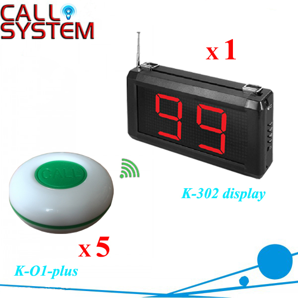 1 set Electronic push button buzzers 1 counter monitor with 5pcs table ring for customer use Cafe house
