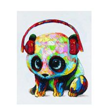 panda headset Cartoon Animal DIY Digital Painting By Number Modern Wall Art Canvas Painting Gift for children Room Decor 40x50(China)