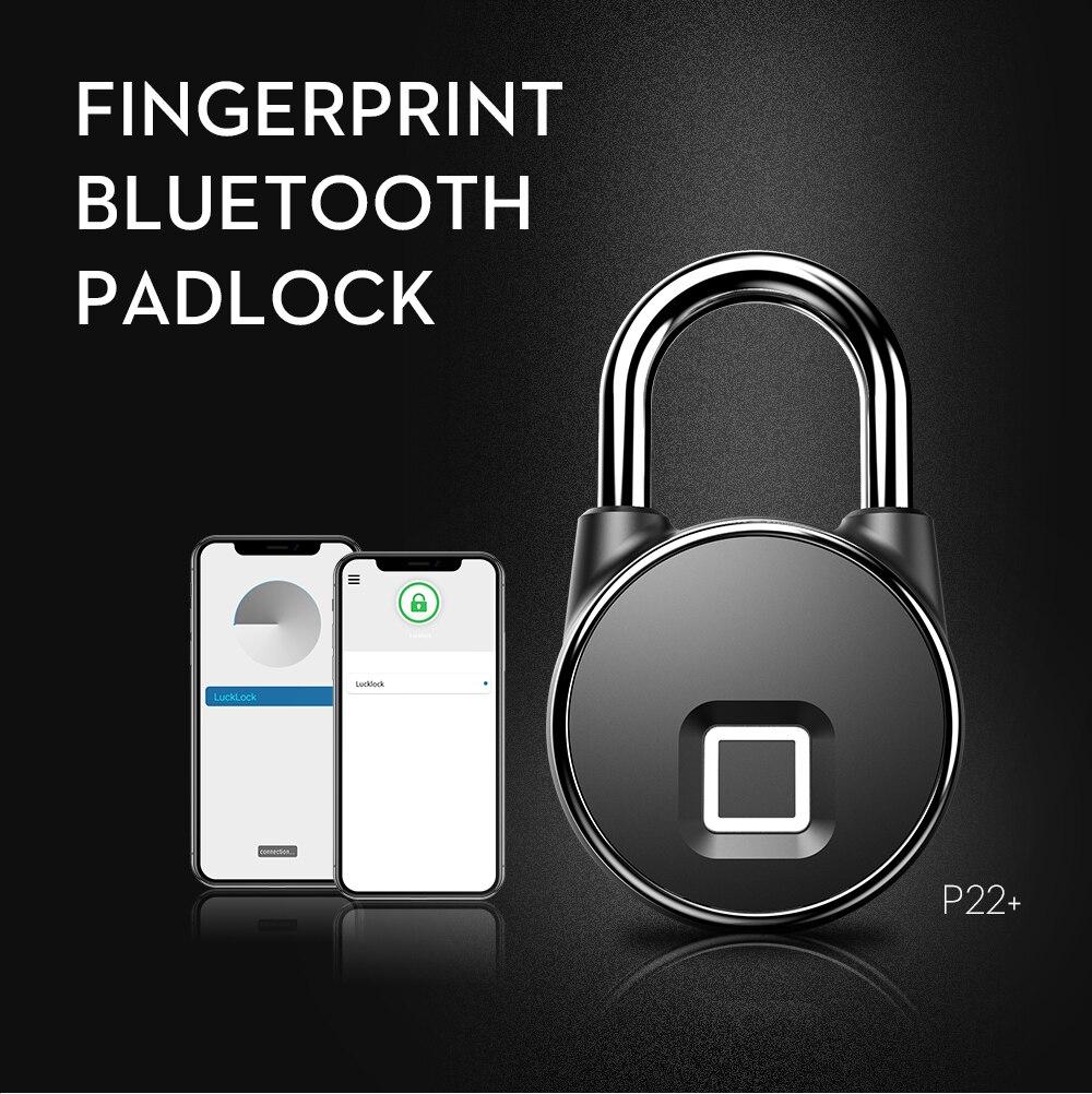 Bluetooth Recarregável Inteligente Keyless Do Fechamento Da Impressão Digital Bloqueio IP66 FLP22 À Prova D' Água Anti-Roubo Fechamento Da Bagagem Cadeado de Segurança Da Porta +