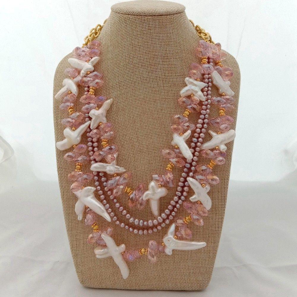 Collier 19 ''4 brins croix blanche perle violet perle rose cristal