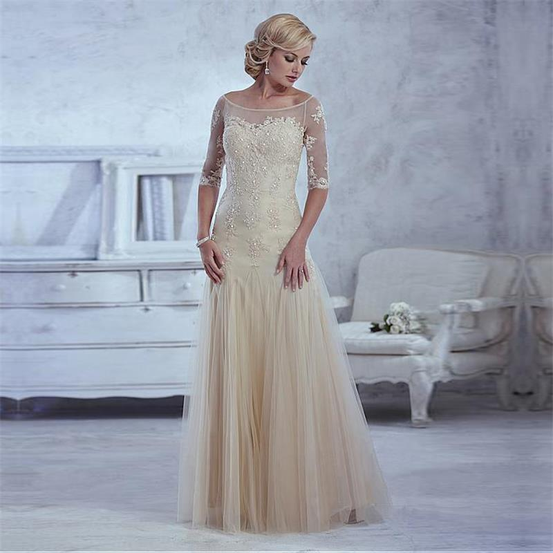 Cheap Light Champagne Mother Of The Bride Dresses Beaded