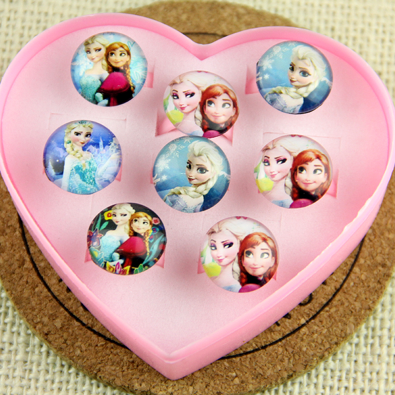 2017 Box for 8Pcs Girl Cartoon toy Rings Wholesale Jewellery Mix Lots Lovely kinds Princess Anna Elsa Pretty Ring Party Supplies