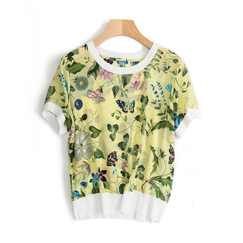 pure silk knit women fashion printed loose tshirt pullover patchwork color Oneck short sleeve M/L retail mix bulk negotiable