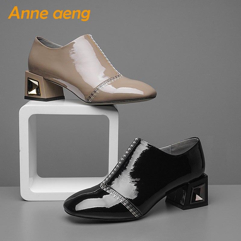 Printemps Bout Sexy Dames Femmes Talons Nouveau Rond Zip Chaussures De Mode Cuir 2018 Noir Khaki black Véritable Pompes Haute Bureau automne CQoerWdxBE
