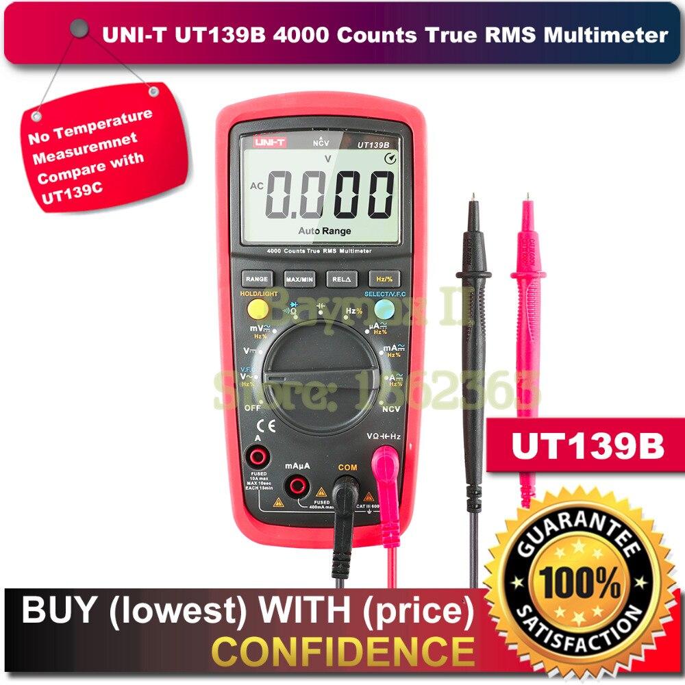 UNI-T UT139B True RMS Digital Multimeter Auto Range AC/DC Amp Ohm Hz Tester uni t ut136a ut136b ut136c ut136d auto range ac dc frequency resistance tester digital multimeter
