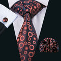 LS-1520 Barry.Wang Classic Men`s Tie 100% Silk Orange Novelty Necktie Hanky Cufflink Set For Men`s Wedding Party Business