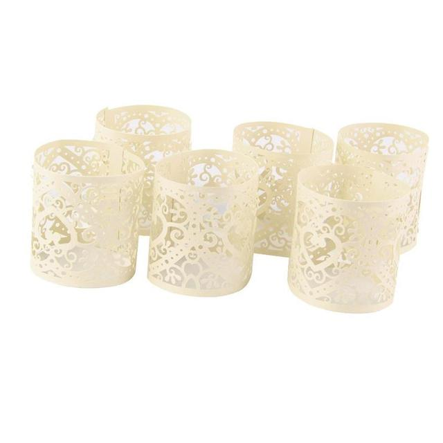 6 Pcs Cream White Candle Holders Paper Hollow Shade Decoration Wedding Table Home Decor Tea Light