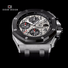 DIDUN Men Steel Military Sports Watch Men Top Brand Luxury Quartz Men watches Black Silver WristWatch 50m Water Resistant