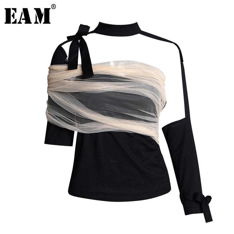[EAM] Women Loose Fit Mesh Ruffle Spliced Big Size T-shirt New Round Neck Long Sleeve Fashion Tide Spring Autumn 2019 1A937