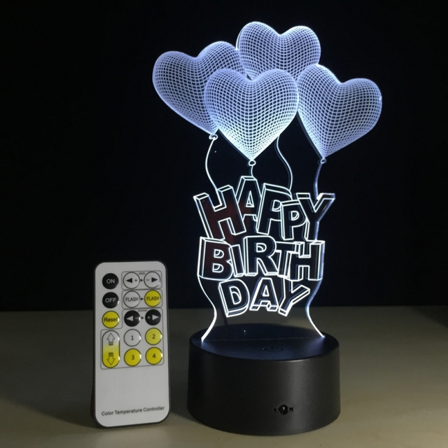 3D Illusion Lamp LED Night Lights Love Heart  Lighting 7 colors