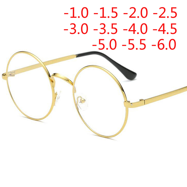 Stainless Steel Finished Myopia Glasses With Degree Fashion Round Frame Retro Coated Green Reflective Myopia Glasses Women Men