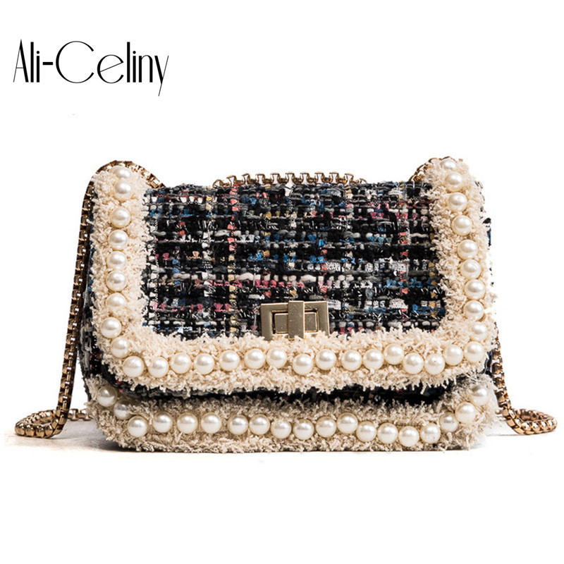 Fashion elegant woolen bag women plaid pearl messenger bag chain purse shoulder bag ladies handbag mini flap