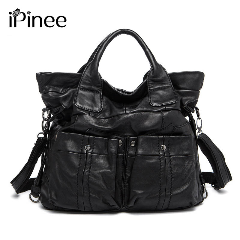 iPinee Fashion Women Genuine Leather Large Tote Bags Designer Two Pockets Decoration Sheepskin Handbags Hot Selling