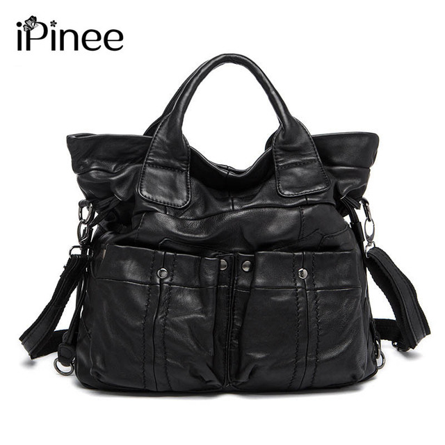 65c6adb94875 iPinee Fashion Women Genuine Leather Large Tote Bags Designer Two Pockets  Decoration Sheepskin Handbags Hot Selling