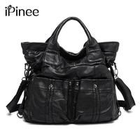 iPinee Fashion Women Genuine Leather Large Tote Bags Designer Two Pockets Decoration Sheepskin Handbags Hot Selling