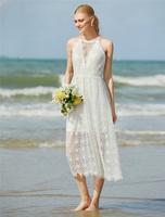LAN TING BRIDE Jewel Neck Tea Length Wedding Dress Lace Bridal Gown with Lace