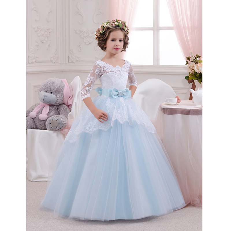Elegant Sweet Princess Wedding Girls Dress Lace Embroidery Appliques Cute Kids Dress For Girl 2017 Summer Prom Party Dresses P37