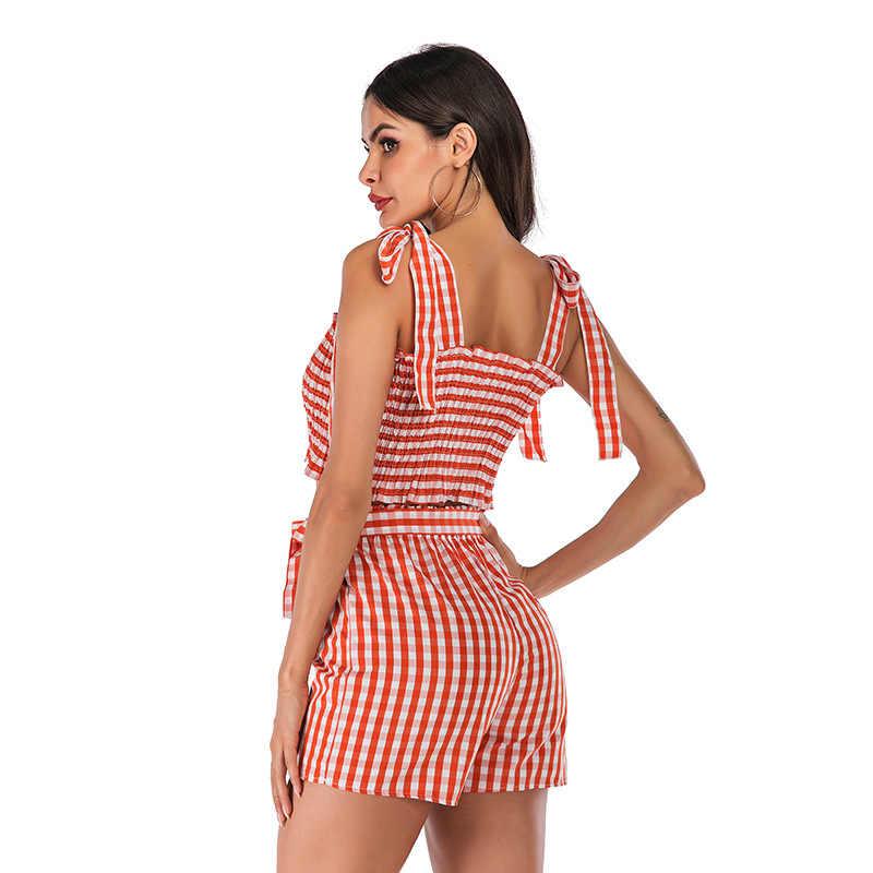Lugentolo, летний женский костюм из двух предметов, сексуальные, на бретельках, с открытыми плечами, свободные шорты, новая мода, оранжевые, шифоновые, повседневные, вечерние
