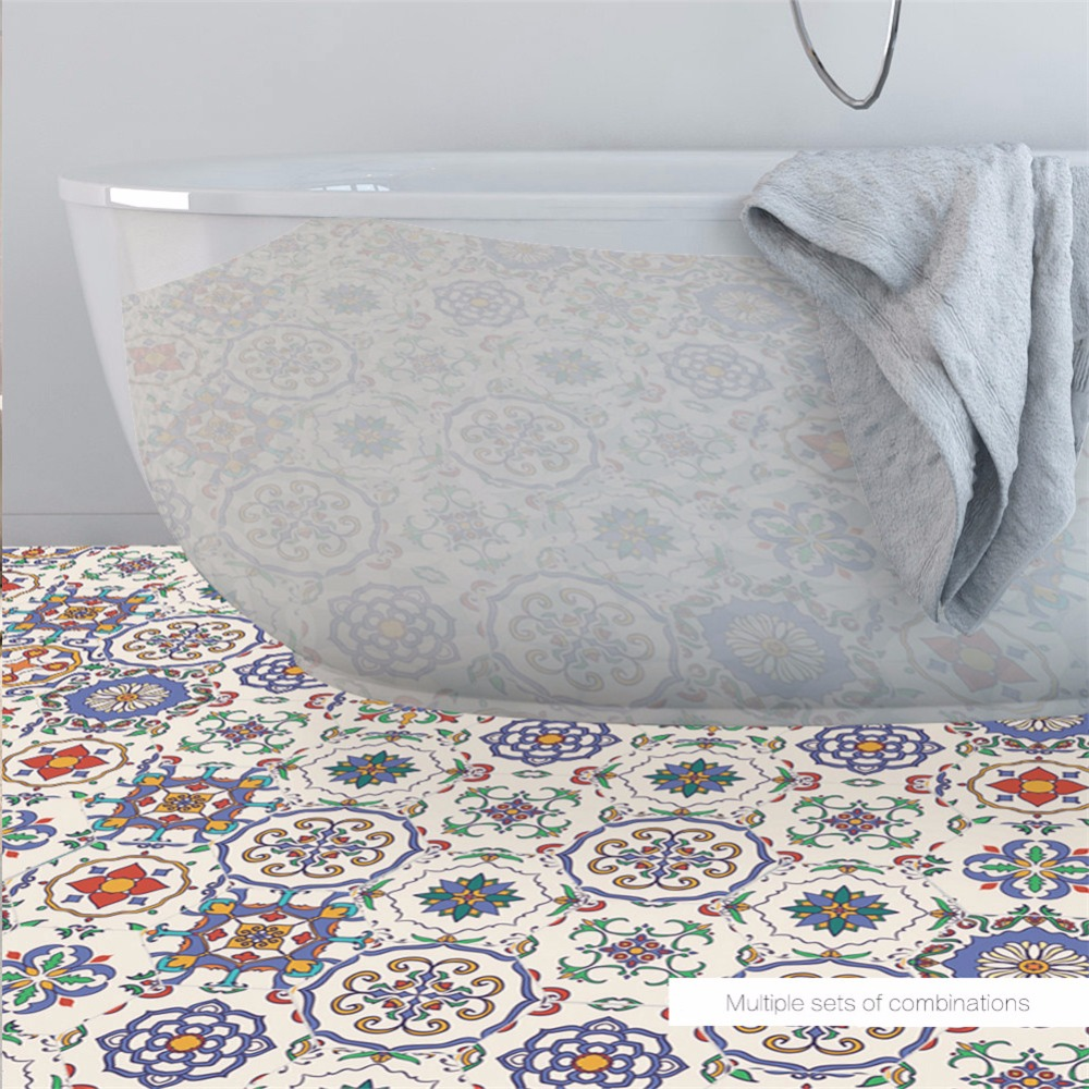 Yanqiao Floral Morocco Style Tiles Decor Floor Sticker Peel and ...