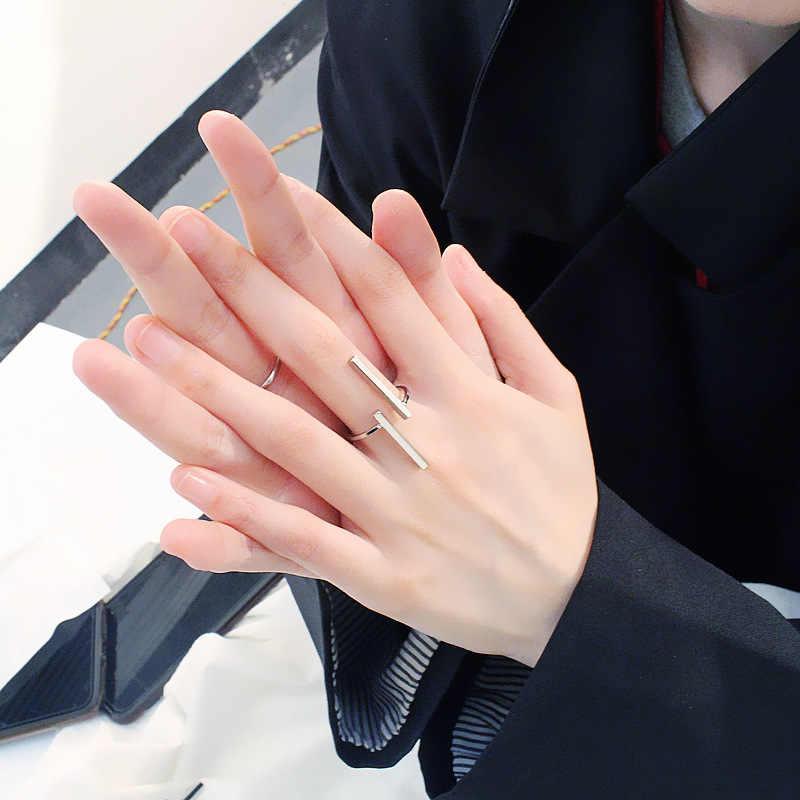 Kominry Punk Geometri Cincin Sederhana Musim Panas Wanita Pria Cincin Adjustable Perak Hitam Emas Warna Desain Fashion Perhiasan