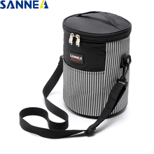 SANNE thermo insulated food bag kids and wome Stylish cylindrical stripes casual picnic Lunch bag thermal lunch bag Tote cooler simple stripes insulated lunch bag for women packaged food thermal bags thermo pouch isothermal bag kids lunch bag refrigerator