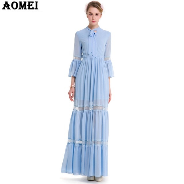 2018 Spring Chiffon Preppy Style Maxi Dress Blue Color Pink Color ...