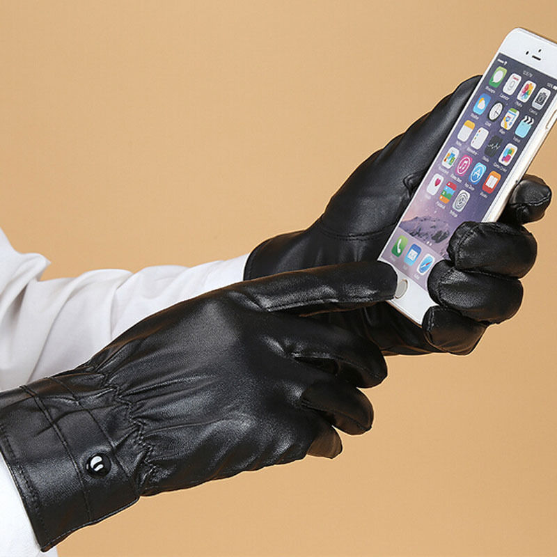 Mittens Winter Warm Gloves Driving Leather Gloves Touch Screen Comfortable Gloves For Men Woman