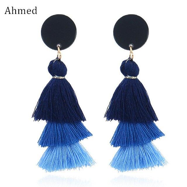 Ahmed Bohemian Multilayer Statement Tassel Pedant Earrings for Women Fashion Fri