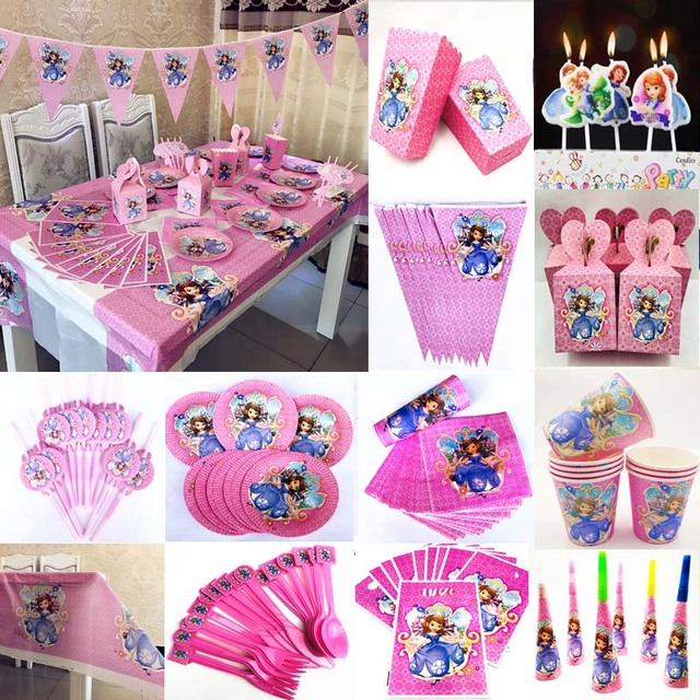First 1st Birthday Party Supplies Childrens Day Festival Event Baby Shower Princess Sofia Disposable Tableware Set