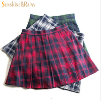 Autumn Winter Fashion Female Red Black Plaid Pleated Skirts Retro Waist Girls Skirts Hot Skirt England