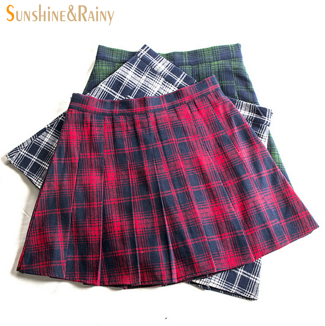 8953cf914 autumn winter fashion female red black plaid Pleated skirts retro waist  girls skirts hot skirt england