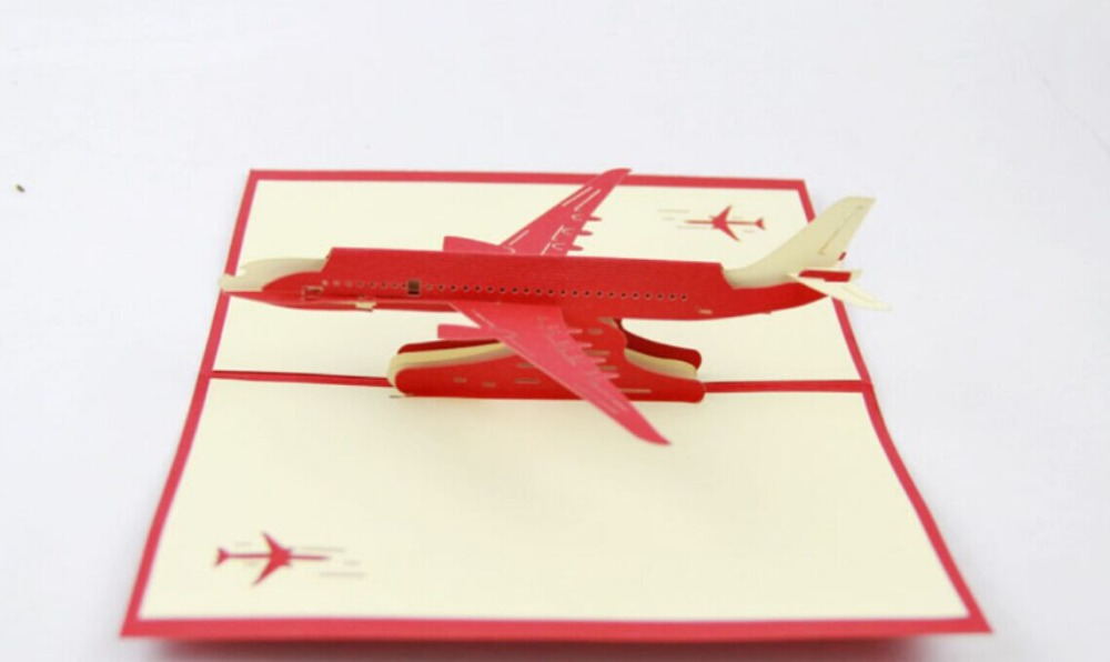 Airplane  pop up card /3D airpcraft  kirigami card/ handmade greeting cards gift for men  Free shipping carousel horse pop up card 3d greeting card handmade kirigami card free shipping
