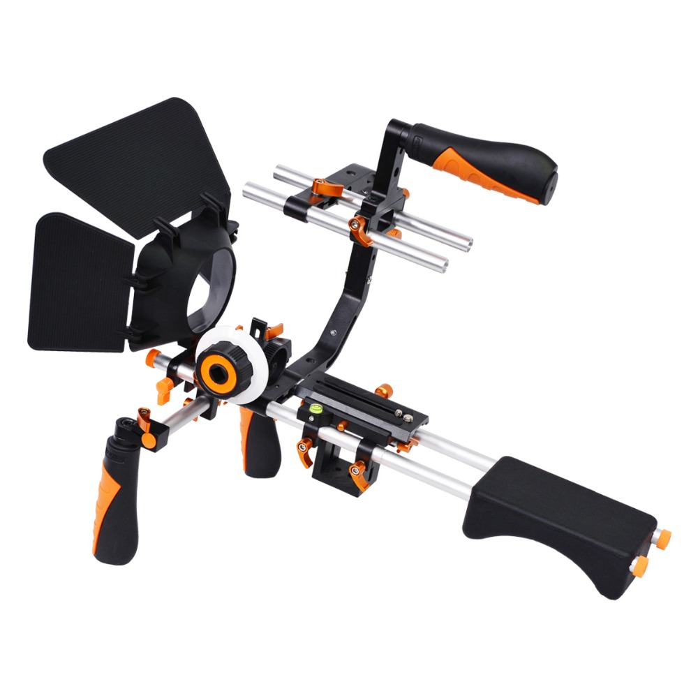 YELANGU 5 in 1 DSLR Rig Kit Camera Shoulder Support Rig/Matte Box/Follow Focus/C Shape Bracket for Canon 5D Mark III 5D2 60D 70D yelangu professional dslr dual handle shoulder mount rig video dv accessories for canon 5d2 5d3 7d 70d 60d 5d mark iii d810 d610