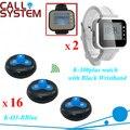 Dois Relógio Pager com 16 Botões de Chamada de Serviço Sem Fio Garçom Sistema de Chamada de Campainha Remoto
