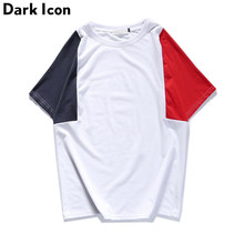 DARK ICON Patchwork Streetwear Mens T-shirt Short Sleeve 2017 Summer New Fashion Color Contrast Tee Shirt Men Cotton Black White(China)