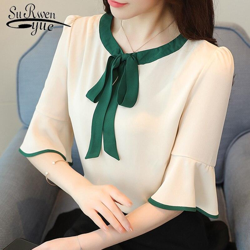 Chiffon women   blouse     shirt   fashion 2019 plus size bow o-neck women's clothing sweet flare sleeve feminine tops blusas D619 30