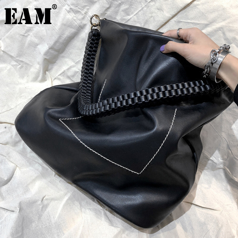 [EAM] 2020 Spring Summer Woman Stylish New Solid Black Color Single Belt High Capacity Leather Spliced Accessory All Match LE945
