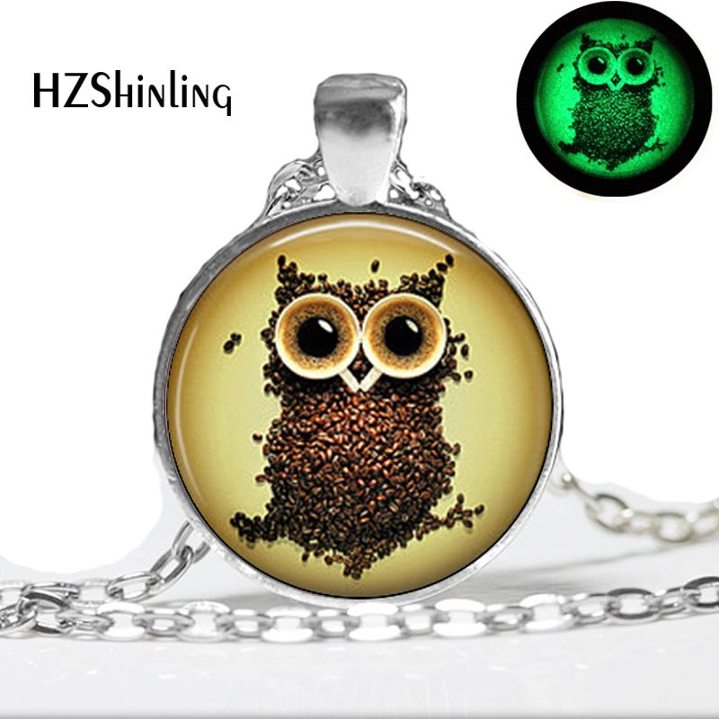 2015 New Items Glow in the dark Coffee Beans Owl Necklace Owl Pendant Necklace - art photo glass dome glowing jewelry