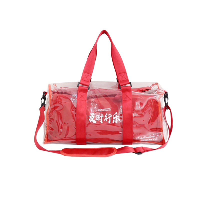 2Pcs/set Red Travel Bag For Women Fashion Gym Bag PVC Designer Duffle Bag Women Summer Waterproof Laser Trapeze Shoulder Bags