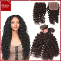 10A grade 3pcs virgin brazilian deep curly with closure bleached knots remy human hair with intact cuticle full and thick end