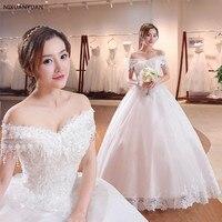 2019 New Wholesale Wedding Dress Half Sleeve Off Shoulder Wedding Gown Cheap Ball Gown Bridal Dress Made China Vestido De Noiva
