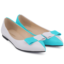 BLUE SEXY LADIES FAUX LEATHER PATENT FLATS DOLLY BALLET WOMEN SHOES MIX US SIZE 7 8 9