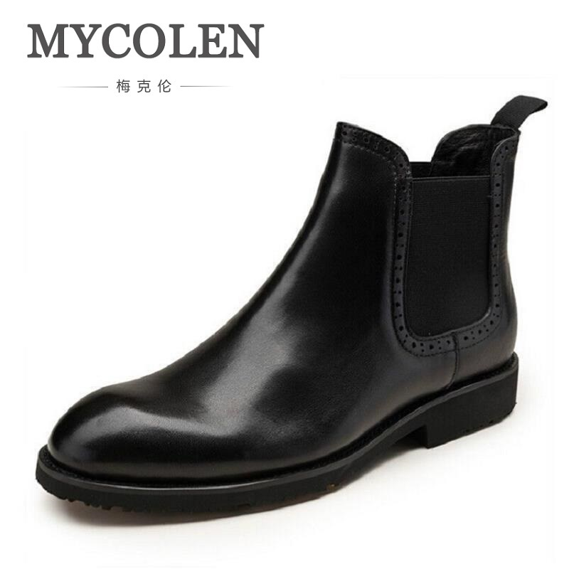 MYCOLEN Men Boots Genuine Leather Black Round Toe Luxury Fashion Classic Business Office Formal Ankle Boots Brown Men Shoes Male high quality 2018 fashion classic luxury men boots genuine leather casual black ankle boots for men male shoes business booties