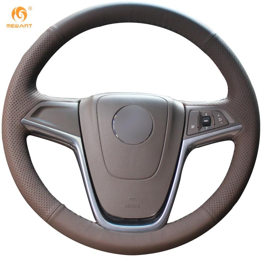 MEWANT Dark Brown Genuine Leather Car Steering Wheel Cover for Buick Excelle XT GT Encore Opel Mokka цены онлайн