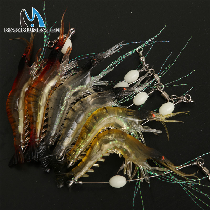 Maximumcatch 6 Pcs 10cm 6g Noctilucent Soft Silicone Simulation Prawn Shrimp Fishing Lure Artificial Bait