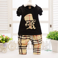 New plaid Baby Boy Sets bow tie style Children Clothing sets Boys Tracksuits spring autumn suits baby boys clothes J0142