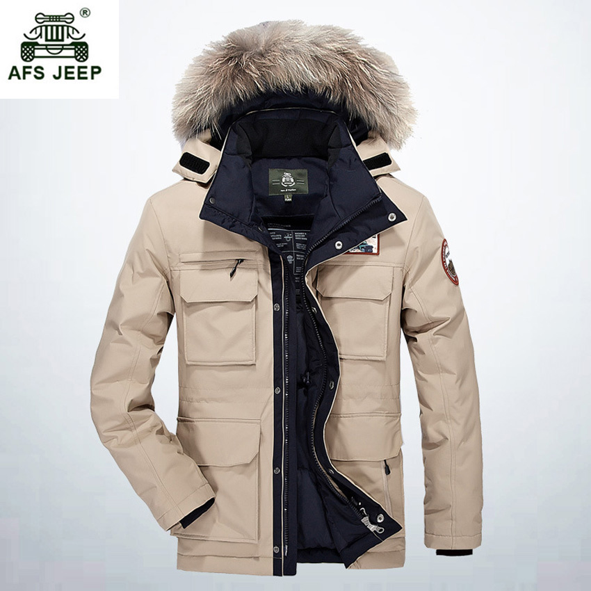 2017 Thicken Warm Winter Duck Down Jacket for Men Fur Collar Parkas Hooded Coat Plus Size Overcoat Western Style 268wy