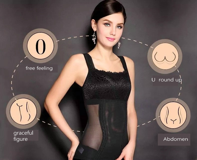 New Womens Shapewear Shaper Camisole Tank Tops Slimming Compression Vest Lace Swimming Underwear Dilated Shoulder Straps L-XXL 5